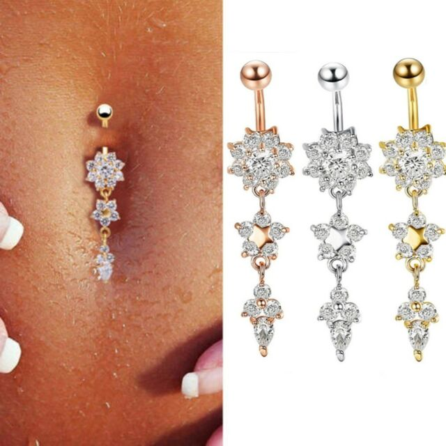 Flower Crystal Surgical Steel Dangle BELLY Button Navel bars Ring Body Piercing