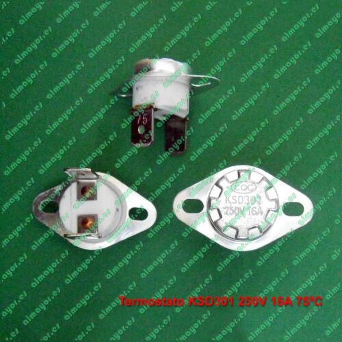 Termostato KSD301 KSD302 250V 16A  75ºC contacto NC ceramic Switch Thermostat