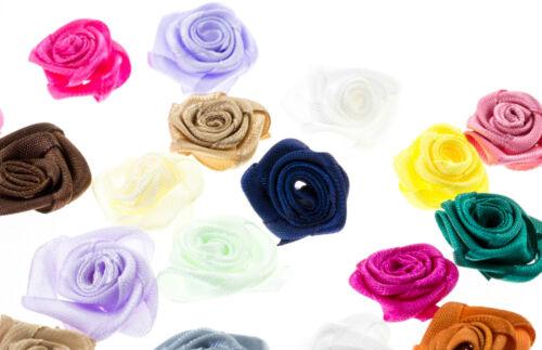 LOT 5-10 FLEURS ROSE EN RUBAN SATIN 25 mm Couleur Mixte Fleur Embelissiement