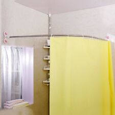 Bathroom Suction Cup Curved Shower Curtain Rod Corner Stainless Steel 115cm 52in