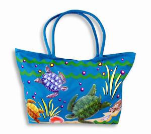 95300a69595 Sea Turtle Water Resistant Jumbo Blue Canvas Beach Tote Bag Zipper ...