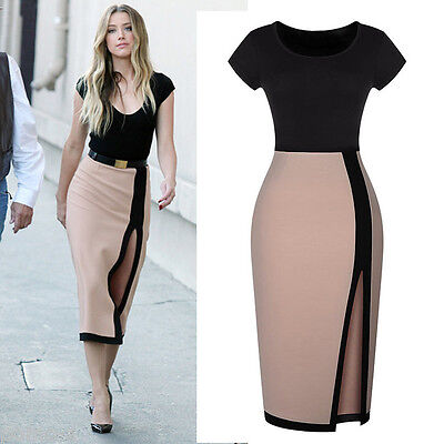 Women's Sexy Open Fork High Waist Pencil Dress Cocktail Party Bodycon Tunic