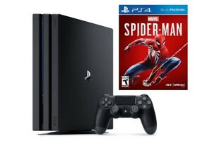 Sony - PlayStation 4 Pro Console - Jet Black + Marvel's Spider-Man Game NEW