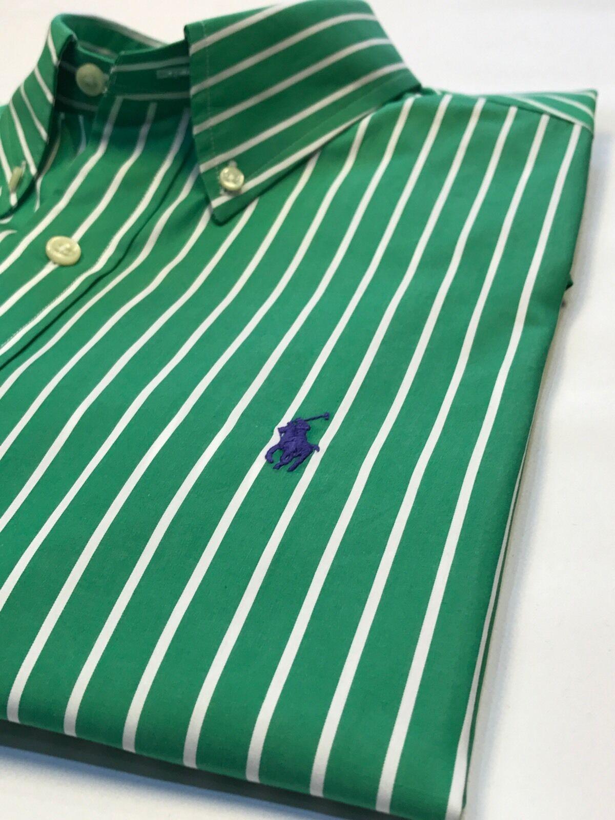 Ralph Ralph Ralph LAUREN verde a Righe Camicia M 65019f