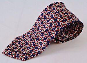 Brooks-Brothers-Silk-Neck-Tie-Red-Blue-Geometric-Pattern-Mens-59L-3-75W-EUC