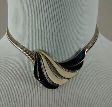 Vintage 70s 80s Retro White Blue Wave Pendant White Gold Color Chain Necklace