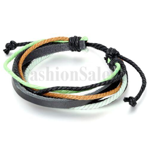 Fashion femmes//hommes Wrap multicouche Multi-couleur cuir Cuff Bracelet Bracelet