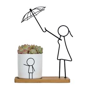1pce 27cm Mum with Umbrella Ceramic//Metal Pot Planter Herbs Succulents