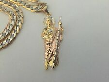 San Judas Tadeo Tres Oros Laminado Medalla y Cadena de Acero Inoxidable Nuevo