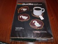 Vintage Bucilla Plastic Canvas Kit Country Geese Coaster Set