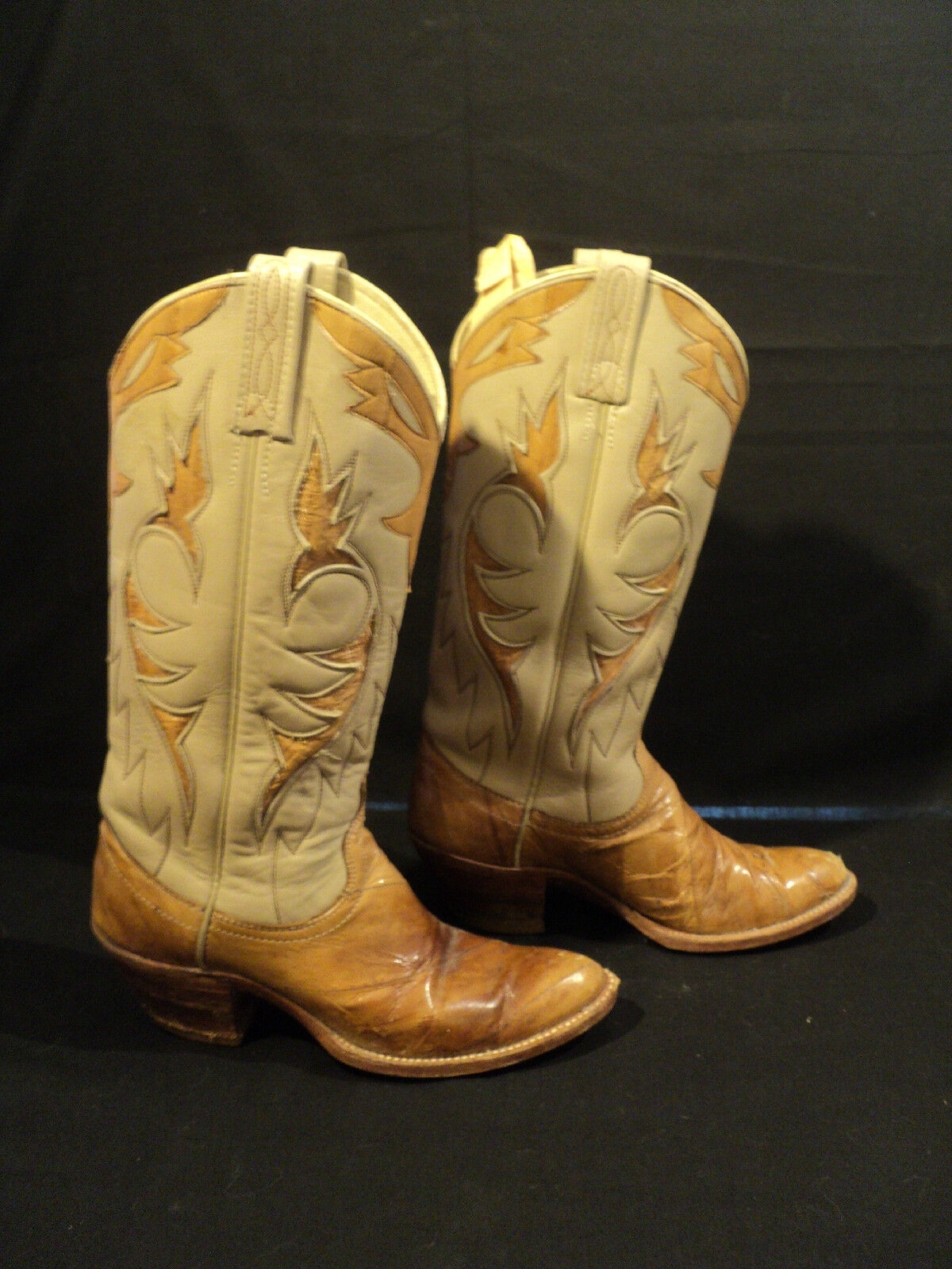 VINTAGE PAIR DAN POST LEATHER with EEL SKIN COWBOY BOOTS, SIZE 5 1/2 C