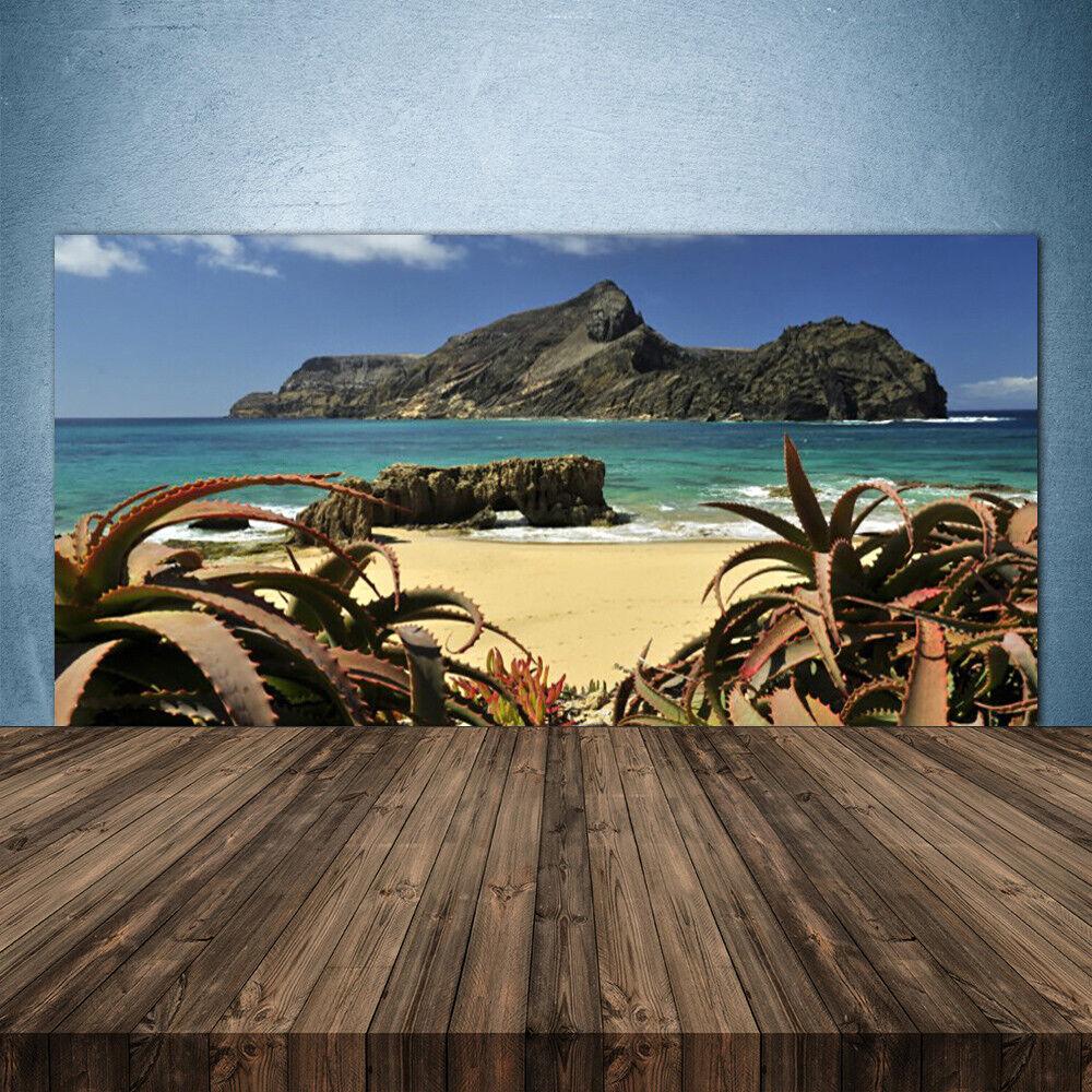 Vidrio Templado Cocina salpicaduras 140x70 Playa Mar rocas Paisaje