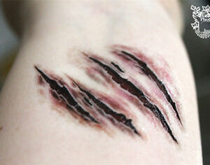 1sheet fake bloodstain scar tattoo decal halloween theme for Fake wound tattoos