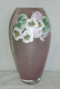 Art-Glass-Vase-Pink-Hand-Blown-Painted-Signed-Domino-7-5-034