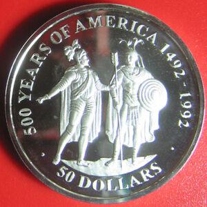 1990-COOK-ISLANDS-50-SILVER-PROOF-CORTEZ-AZTEC-KING-MONTEZUMA-500-YEARS-AMERICA