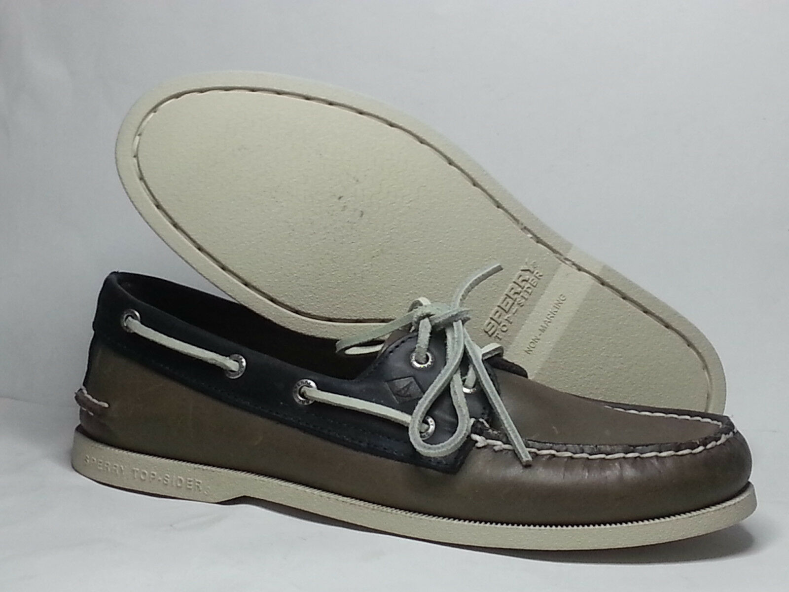 Scarpe casual da uomo  Sperry Top-Sider uomo Size 9 Boat Shoes Leather Gray Blue Leather Lining