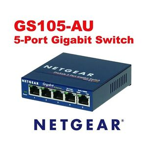 Netgear-Prosafe-5-Port-Gigabit-Ethernet-Unmanaged-Switch-GS105AU-Brand-New