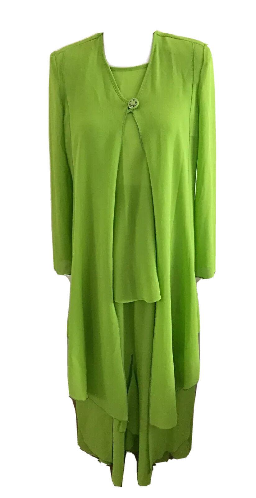 Design Todays Womens 3 Pc Green Button Jacket Tank Skirt Outfit Suit Dress Sz S