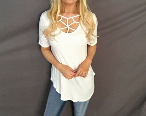 Strappy Criss Cross Caged Scoop Neck Relaxed Fit Round Hem Oversized Tunic Top