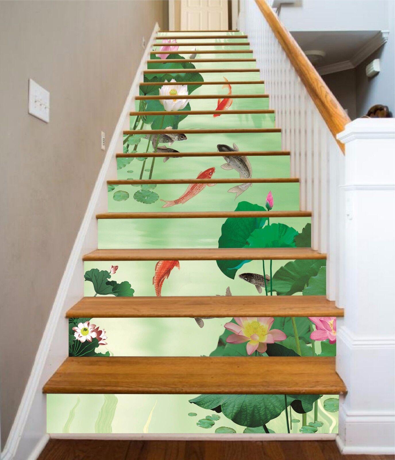 3D Lotus Carp 8357 Stair Risers Decoration Photo Mural Vinyl Decal Wallpaper AU