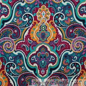 BonEful-Fabric-FQ-Cotton-Quilt-Bright-Color-Gold-Pink-Blue-White-Paisley-Flower