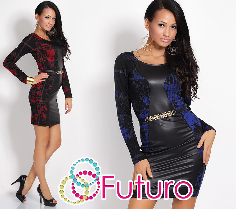 Exclusive High Quality Dress Eco Leather & Belt Bodycon Party Style FC14