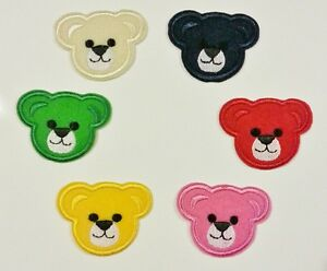 teddy bear faces 6 colours to choose iron on embroidered patches