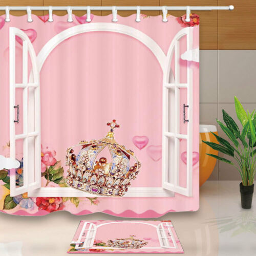 Pink Girl Room with Crown Shower Curtain Bathroom Decor Fabric /& 12hooks 71*71in