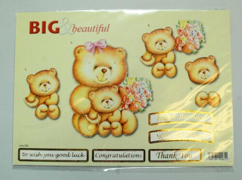 Bear and Friends A4 Die Cut 3D Decoupage Sheet 051