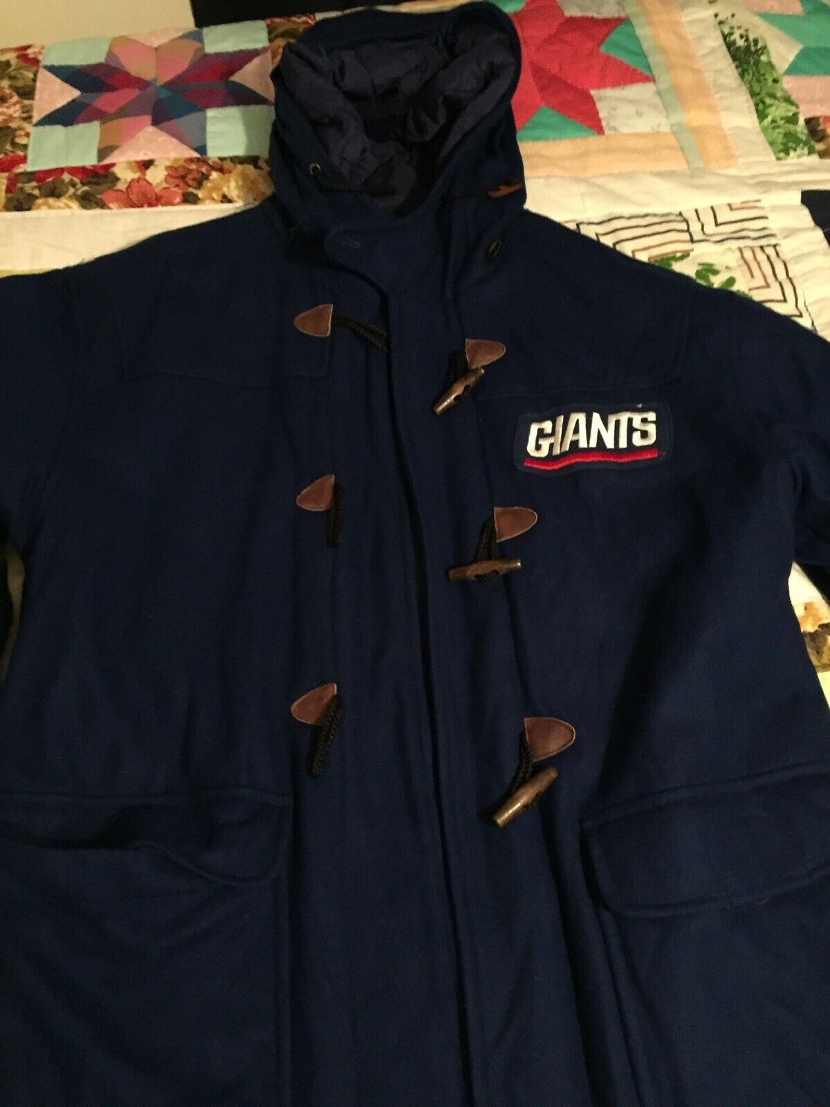 VTG NY GIANTS Mirage First String Trench Coat sz-XL bluee red white