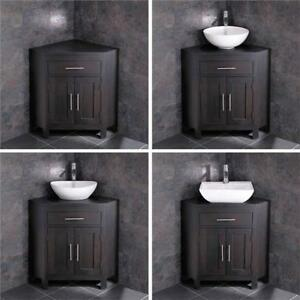 Corner Bathroom Vanity Oak Unit Cabinet Large Bowl Basin Various Set Ebay