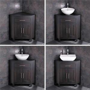 Corner Bathroom Vanity Oak Unit Cabinet Large Bowl Basin Various Set Ebay