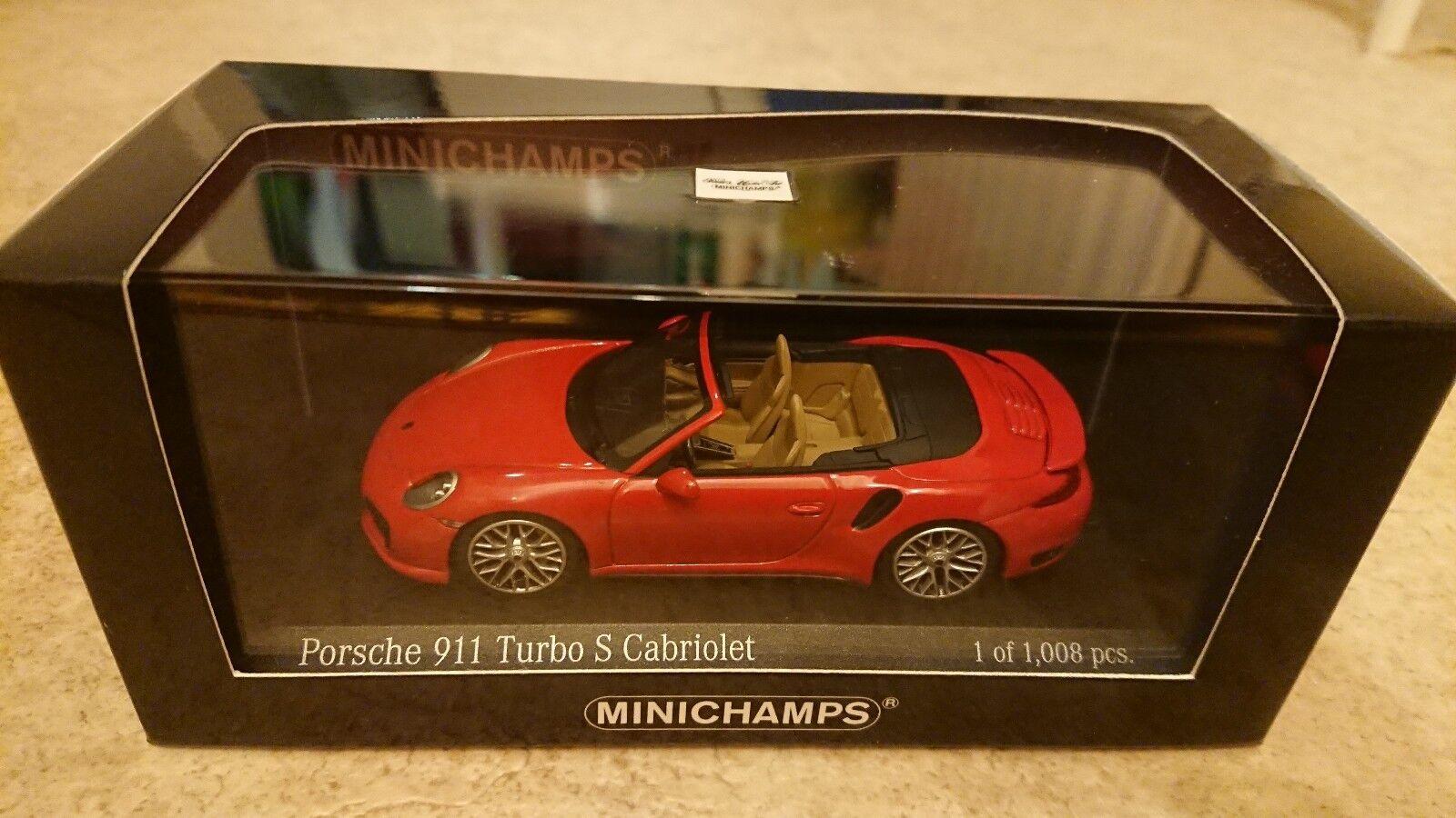 Rare Minichamps Porsche 911 Turbo S cabroilet red Ltd edition 1008 1 43