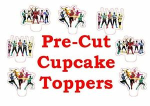 x24 POWER RANGERS *new  wafer paper stand up cup cake toppers PRE-CUT