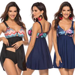 Plus-Women-Tankini-Swimdress-Flared-Skirt-Two-Piece-Padded-Bra-Swimwear-Swimsuit