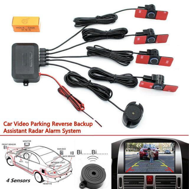 4 Parking Sensors Car Reverse Backup 16mm Flat Radar Alarming System LED Monitor