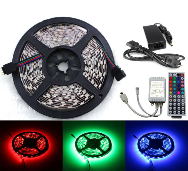 Bright 5M 5050 RGB 300 LED SMD Light Strip+44 Key IR Remote+12V 5A Power Supply