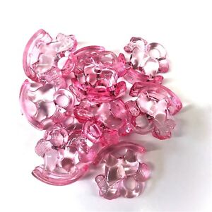 GUMBALL CHARMS BABY SHOWER 25 x BABY PINK ACRYLIC ROCKING HORSE CHARMS