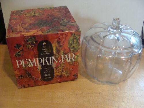 Fall Glass w// Box 1980s Dunkin Donuts Pumpkin Jar Cookie Canister Halloween