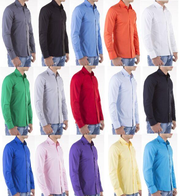 Redbridge by Cipo Baxx Super Slim Fit Hemd Tailliert  Men Shirt Basic Tee R-2111