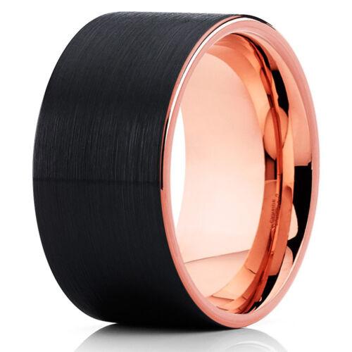12mm Rose Gold Tungsten Carbide Wedding Ring Brushed Black Finish Unisex Band