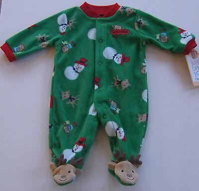 Carters Just One You Christmas Reindeer Footed Bodysuit Romper Reindeer 3 Mo 3M