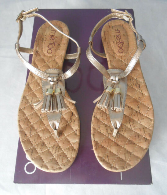 d015941000de5 Frequently bought together. NWB Me Too Rowen Gravel Leather Foiled Tassel  Thong Sandals Shoes Size 6