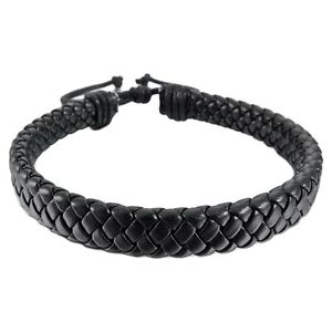Mens-Womens-Leather-Bracelet-Bangle-Cuff-Rope-Black-Surfer-Wrap-Adjustable