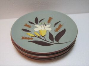 Stangl-Set-of-4-1950-039-s-Pottery-GOLDEN-HARVEST-6-034-Salad-Desert-Plates-Yellow-Lily