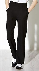 Girls BLACK Trousers School Uniform Elastane Stretch Ladies Office Womens Pants