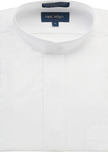 NWT Men/'s Banded Collar Dress Shirt Size XS-5XL.