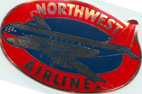 NORTHWEST AIRLINES circa 1955 Brilliant Old Metallic Luggage Label