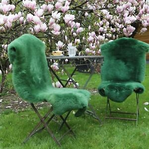 Lammfell-Schaffell-geschoren-Moosgruen-90-100-cm-Dekoration-Laeufer-Sitzunterlage