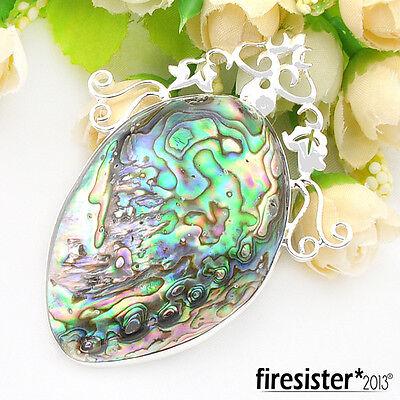 Huge Stone Color Australia Abalone Shell Gemstone Silver Necklaces Pendant